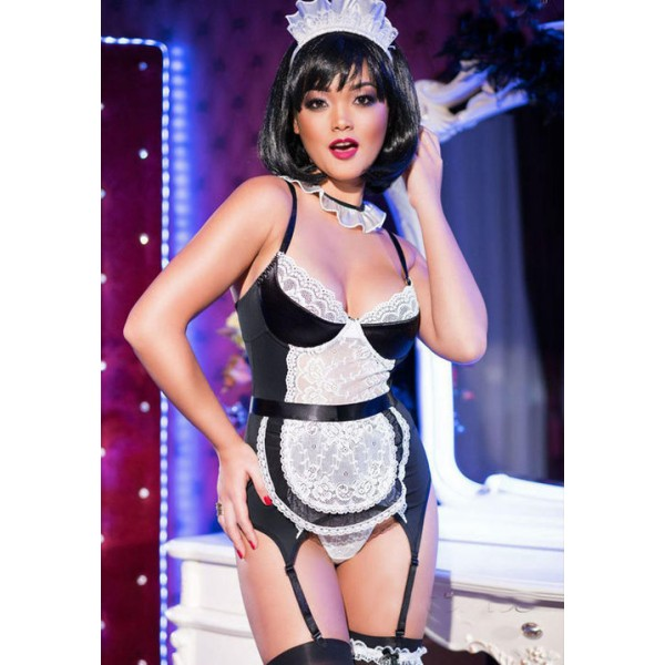 Costum Menajera Maid Corset Set 4152  S/M