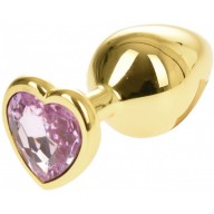 Dildo Anal Metalic Medium Gold With Heart Diamond Pink