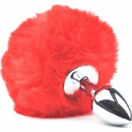 Dildo Anal Metalic Small Bunny Tails Red