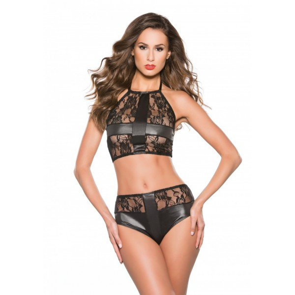 Lenjerie Allure Lace & Wet Look Top And Shorts Set One Size